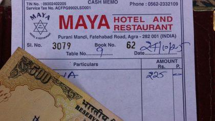 Hotel restaurant Maya, Agra, India