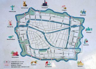 Singelpark Wandelroute Leiden kaart